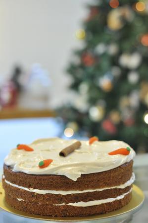 Fresh Baked Delicious Carrot Cake 免版税图像