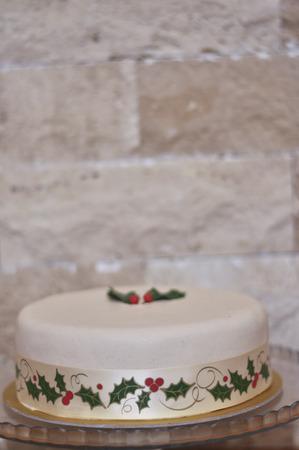 Delicious Marzipan Christmas Cake Stock Photo