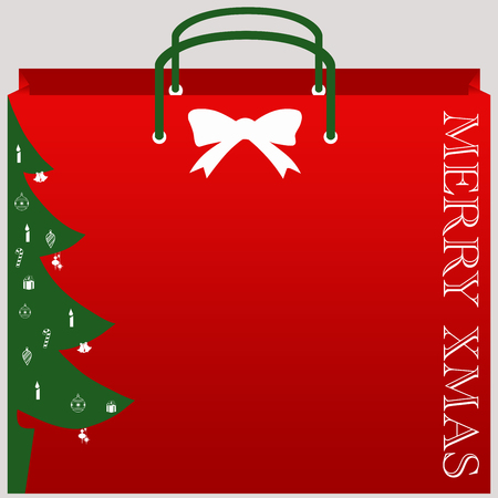 Christmas shopping bag vector with isolated background
