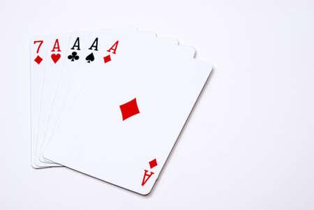 A top notch poker hand of four aces. Banco de Imagens