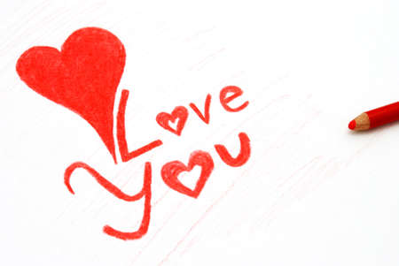 A Love note written in pencil crayon. Stock Photo - 4204604