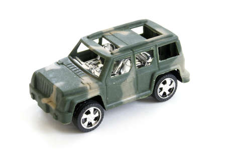 A single toy military vehicle on white background.
