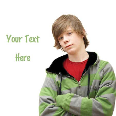 sweatshirt: Ein junger Teenager sylish lehnt sich an einer Seite des Bildes.