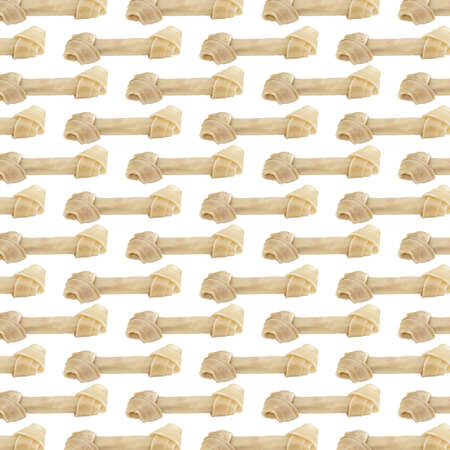 A wallpaper background made of rawhid dog bones.