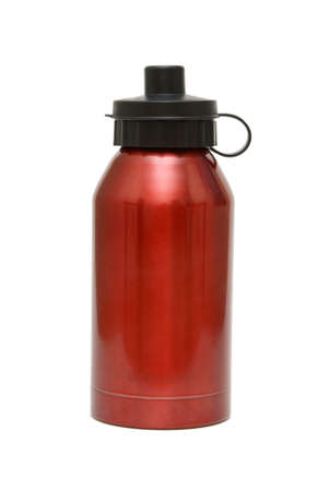water jug: A red water bottle isolated on white background. Stock Photo