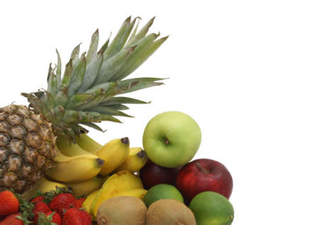 An arrangement of various fruits on a white background. photo