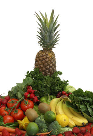 An arrangement of various fruits and vegetables on a white background. photo
