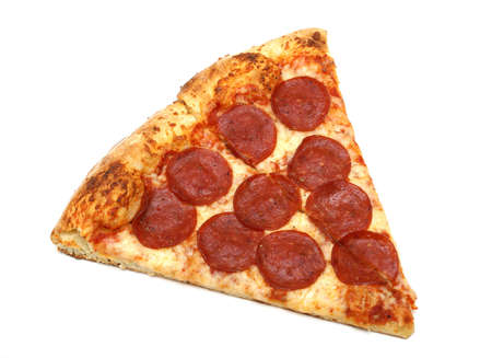 slice of pizza: A slice of pepperoni and cheese pizza. Stock Photo