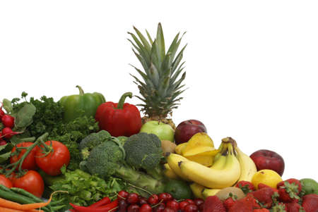 A variety of fruits and vegetables arranged on white background. photo