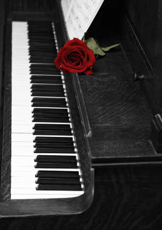A rose rests on a piano with sheet music. photo