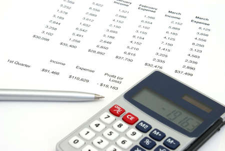 financial statements: A profit or loss sheet for a company with the balance showing a loss.