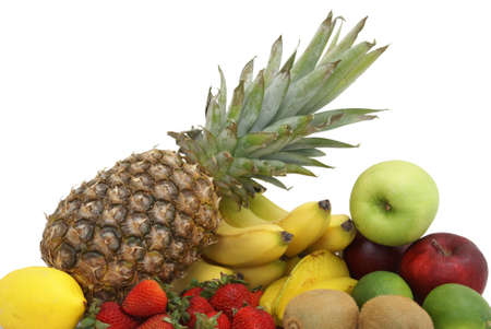 A variety of fruit arranged on white background.