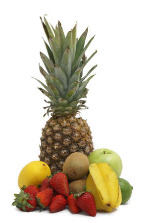 A variety of fruit arranged on white background. photo