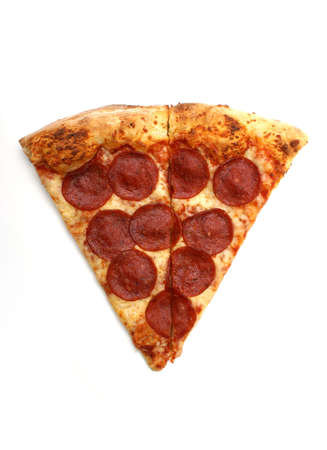 pepperoni: A slice of pepperoni pizza on white background. Stock Photo