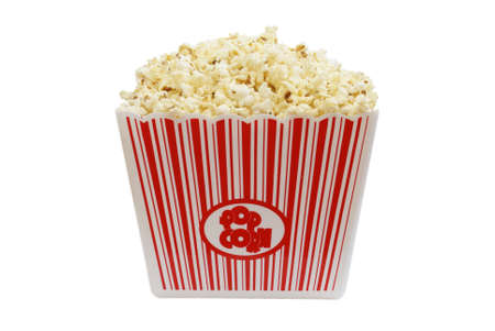 concession: A large bucket of popcorn, isolated on white background.