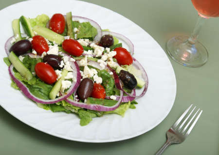 A delicious greek salad on a table. Stock Photo - 5355743