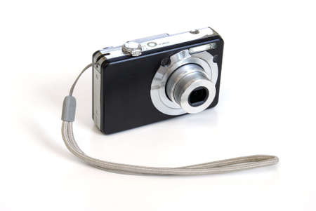 sleek: An isolated digital camera on white background.