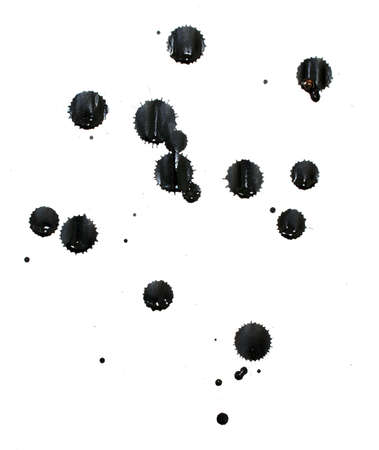 ink stain: Splatters of black india ink on white paper. Stock Photo