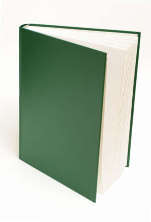 A green book is standing upright over a white background.