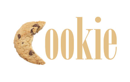 The word cookie with a bitten cookie for the first letter C. photo