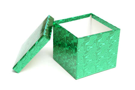 christmas gift: An empty green gift box over a white background.