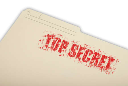 top: A top secret folder isolated on a white background.