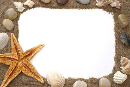 animal picture: A border made of things you would find at the beach. Stock Photo