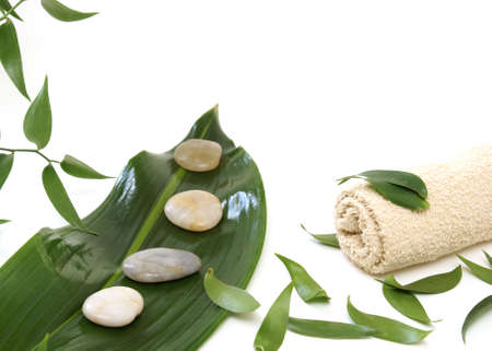 face cloth: Fresh green leaves with stones and a face cloth isolated on white.