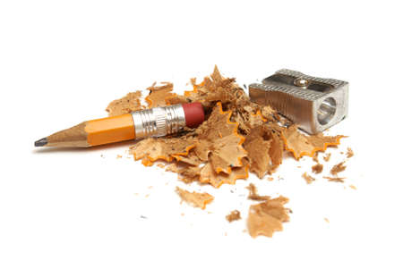 pencil sharpener: A pencil that has been shaven to its last life. Stock Photo