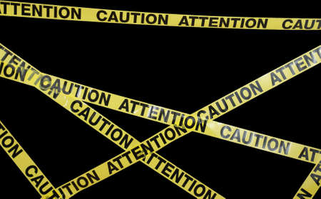 discretion: Many strands of caution tape stretch across the frame.