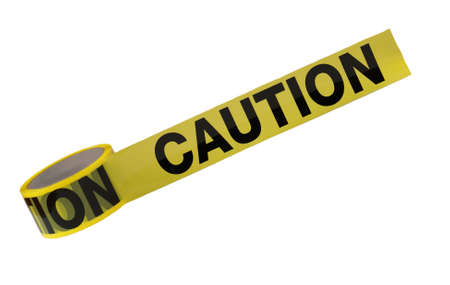 discretion: A roll of caution tape is isolated on a white background.