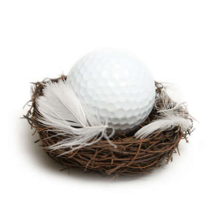 A conceptual golf ball inside a nest to give the idea of the future of golf. photo
