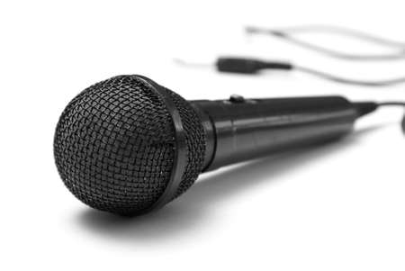 A macro shot of a microphone over a white background. Stock Photo - 7229644
