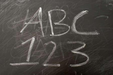 Learning the basics of the english language on a chalkboard. photo
