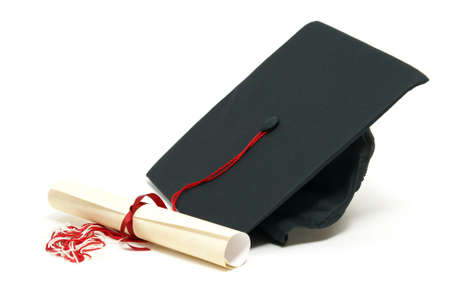 mortar hat: A diploma certificate alongside a grad hat to celebrate the students success.