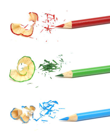 sharpen: A RGB concept made from colored pencils and shavings.