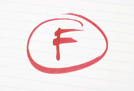 grading: Una F se da a un estudiante por trabajo pobre.  Foto de archivo