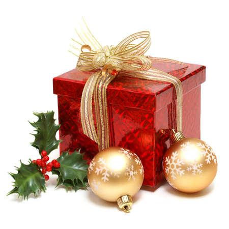 group of christmas baubles: An isolated gift box for the holiday season.