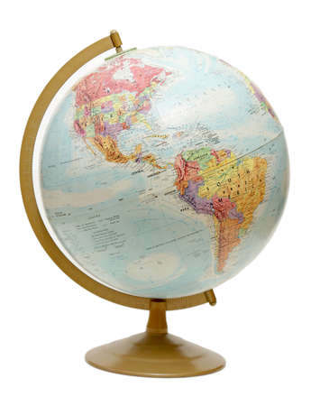 earth map: An isolated globe positioned to the North and South Americas.
