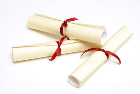 An isolated group of diplomas for graduating students.