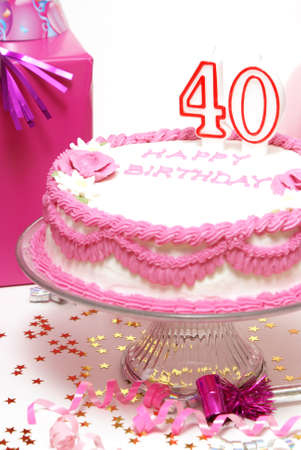 A 40th birthday cake to celebrate someones special day. Stock Photo - 7754149