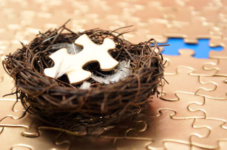 A nest holds the missing piece to a golden connection of other networked pieces. Stock Photo - 7844447