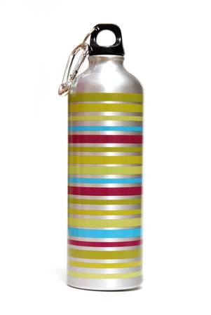 thirst quenching: An isolated metal water bottle for any activity that requires quenching your thirst. Stock Photo