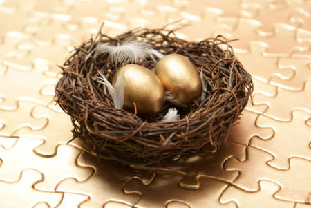 A conceptual piece of managing to create a wealthy nest egg. photo