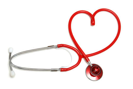 forme: A red stethoscope forming the shape of a heart.