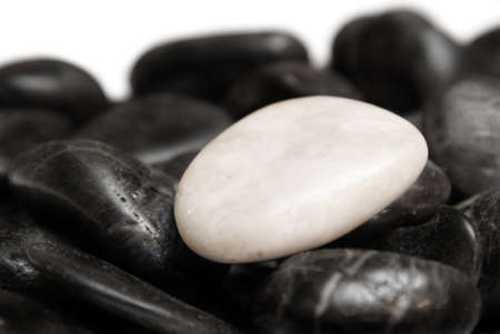 incompatible: A white stone surrounded by other black stones for a conceptual difference.