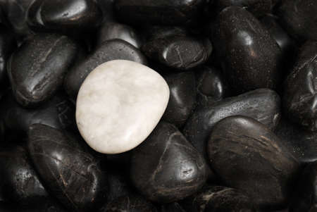stone circle: A white stone surrounded by other black stones for a conceptual difference.