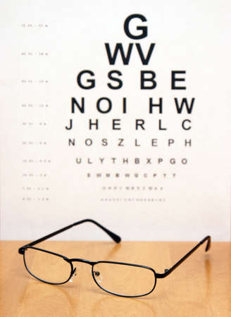 An eye exam chart is blurred in the background of a pair of modern eye glasses. Stock Photo - 8589891
