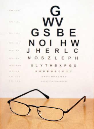 sight chart: Un gr�fico de examen de ojo es confusa en el fondo de un par de lentes de ojo moderno.