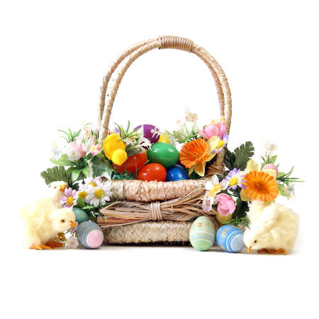 An easter basket full of eggs for the seasonal holiday. photo